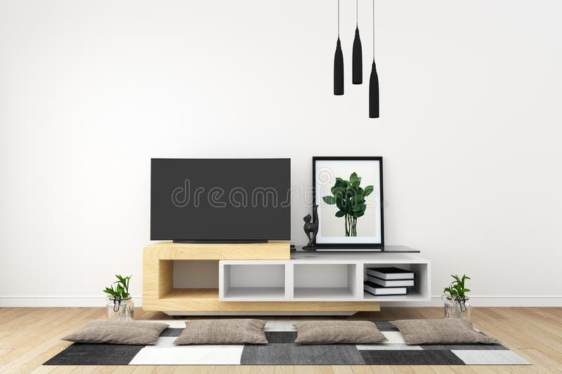 Mock up Smart TV in modern white empty room interior minimal designs. 3d rendering. Smart TV in modern white empty room interior minimal designs. 3d rendering royalty free illustration