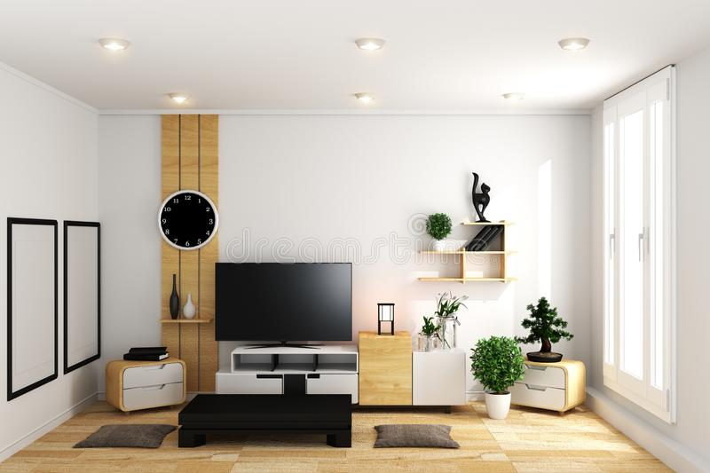 Smart TV in modern white empty room interior minimal designs - Japanese style. 3d rendering. Mock up Smart TV in modern white empty room interior minimal designs royalty free illustration