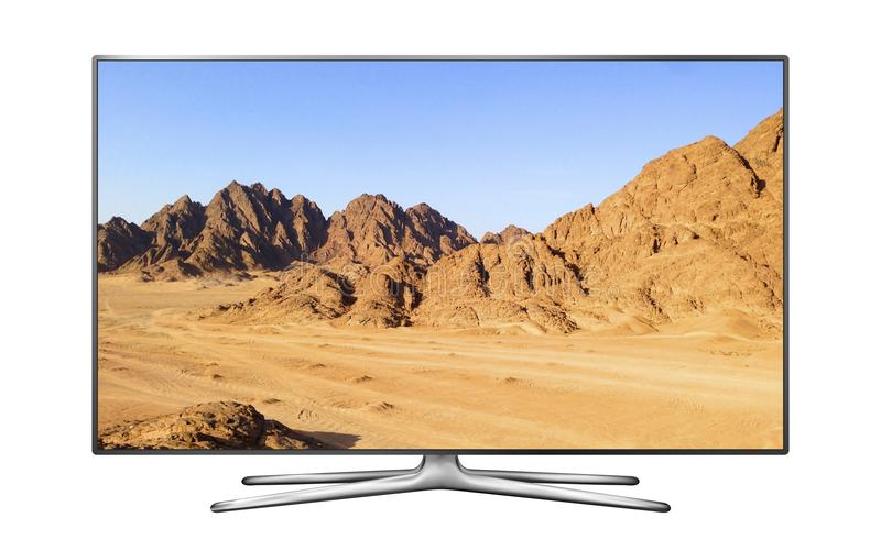 Smart TV with mountain landscape royalty free stock photos