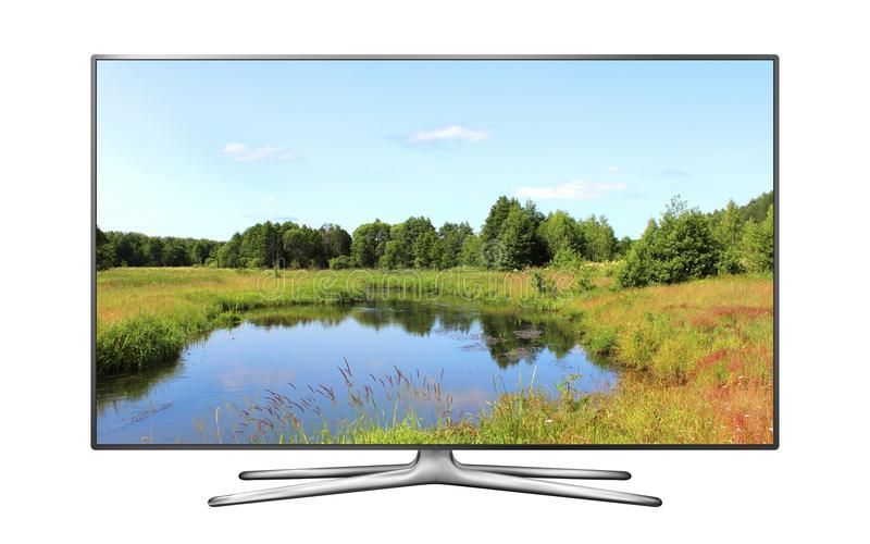 Smart TV with nature wallpaper. Smart TV screen isolated with nature wallpaper royalty free stock photography
