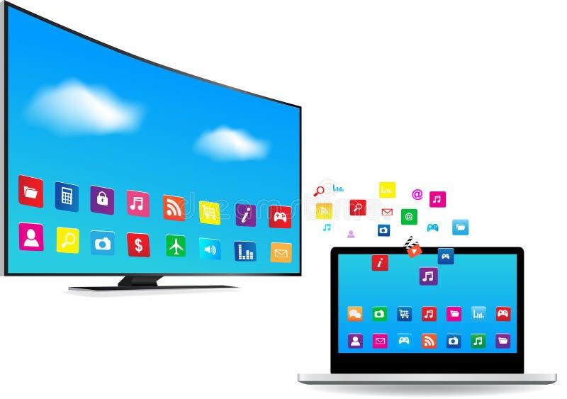 Smart TV och bärbar dator med apps stock illustrationer