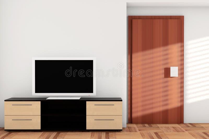 Smart TV over Dresser. In hotel room royalty free illustration