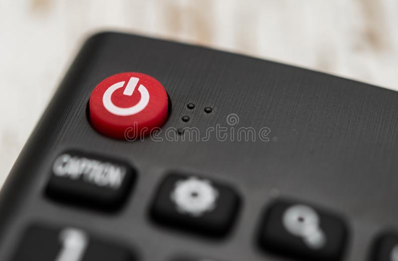 Smart tv remote control with power button. Concept of entertainment, fun, news. Smart tv remote control with power button. Concept of entertainment, fun, news stock image