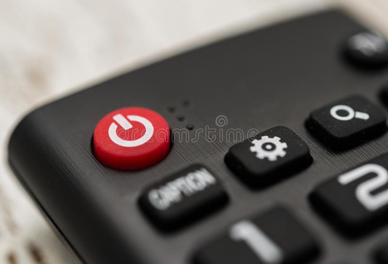 Smart tv remote control with power button. Concept of entertainment, fun, news. Smart tv remote control with power button. Concept of entertainment, fun, news royalty free stock photos