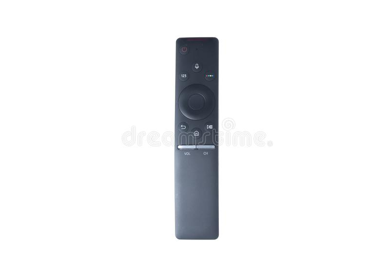 Smart tv remote controller. Black smart tv remote controller isolated on white background royalty free stock image