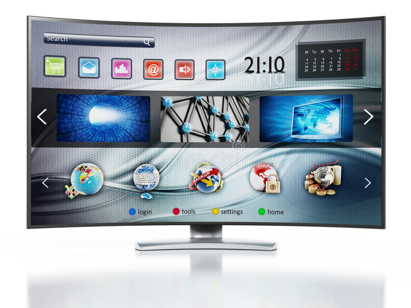 Smart TV showing main screen. Smart TV with fictitious interface design showing main screen stock illustration