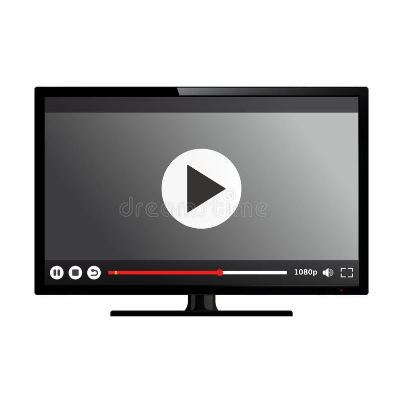 Smart TV with video player on screen stock illustration