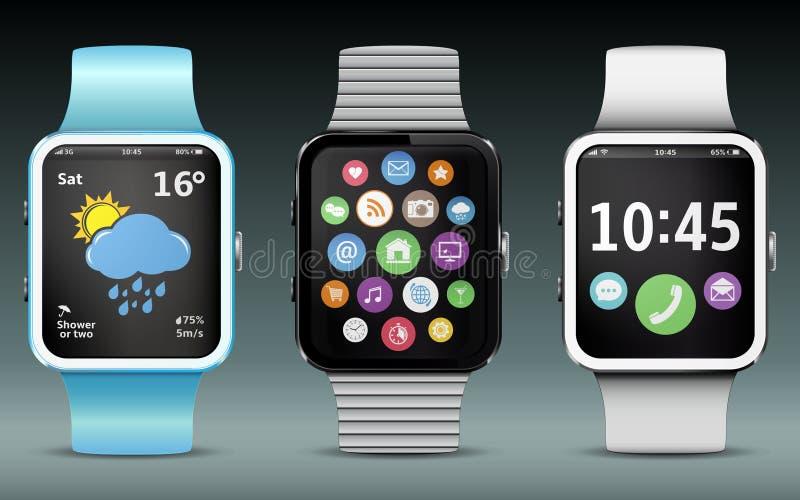 Smart-Uhren mit APPikonen und -Widgets lizenzfreies stockfoto