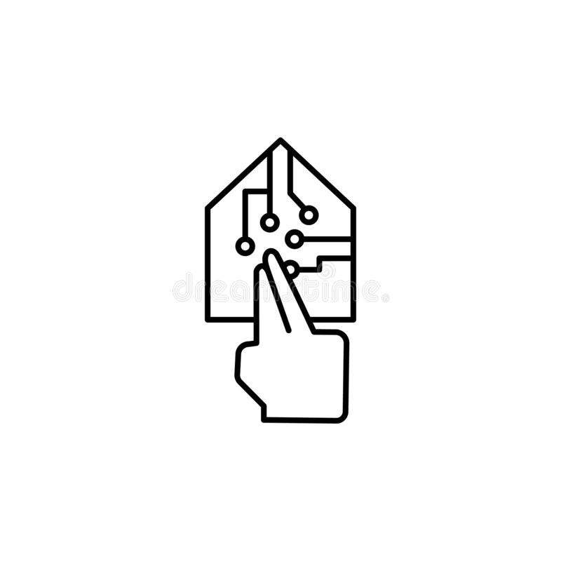 Smart, ui, huis, technologisch pictogram Element van corruptiepictogram Dun lijnpictogram op witte achtergrond vector illustratie
