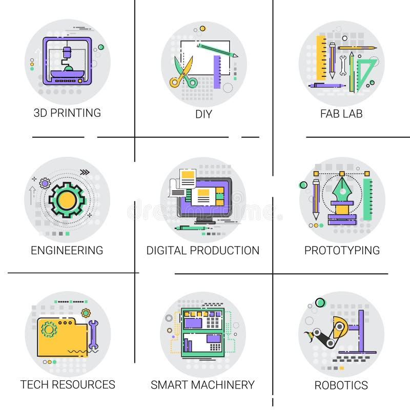 Smart uppsättning för symbol för produktion för industriell automation för maskineri, Techresurser Fab Lab Collection för printin royaltyfri illustrationer