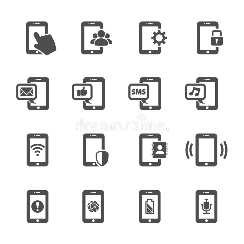 Smart uppsättning för telefonkommunikationssymbol, vektor eps10 stock illustrationer