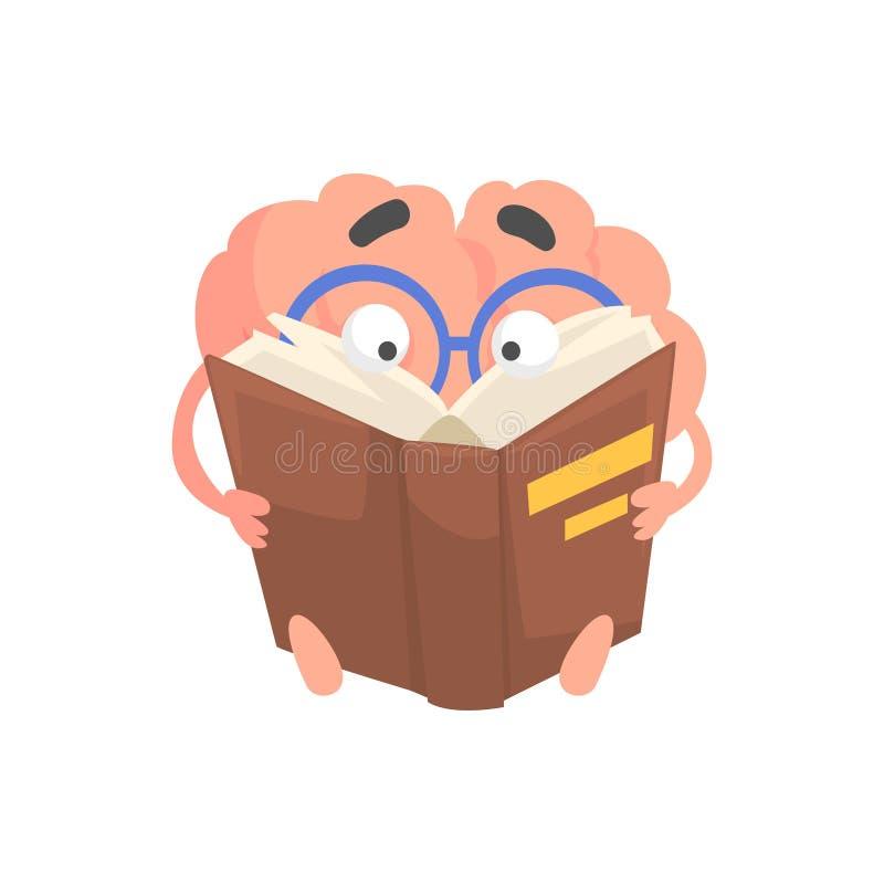 Smart vermenselijkte het karakter die van beeldverhaalhersenen een boek, vectorillustratie van het verstand de menselijke orgaan  stock illustratie
