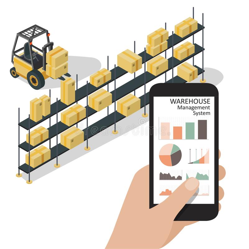Smart warehouse management system app.Worker hand holding phone with warehouse control infographic app. Isometric vector stock illustration