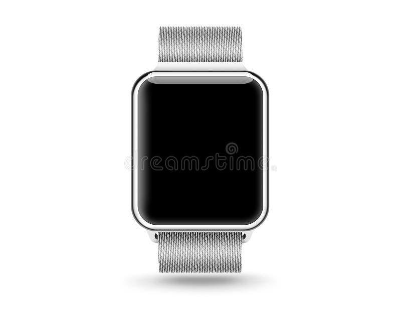 Smart watch blank screen mock up isolated. Steel hand clock stock image