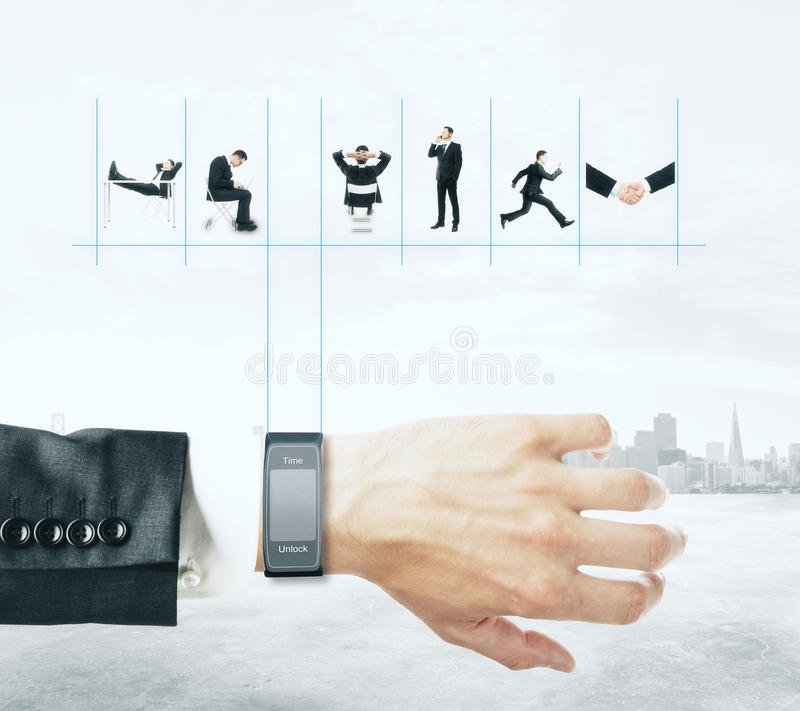 Smart watch with businessman's schedule. On abstract city background royalty free stock images