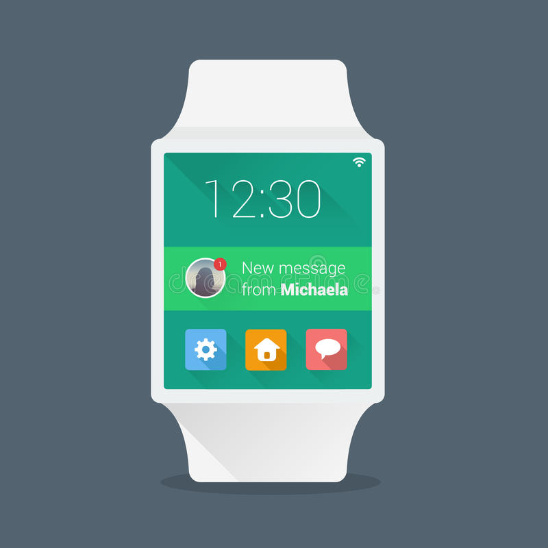 Smart watch concept with simple user interface. Made in flat color design vector illustration