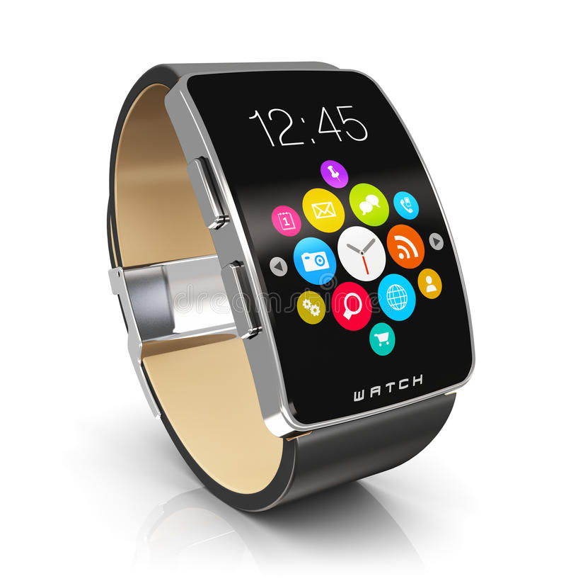 Smart watch. Creative abstract business mobility and modern mobile wearable device technology concept: digital smart watch or clock with color screen interface stock illustration