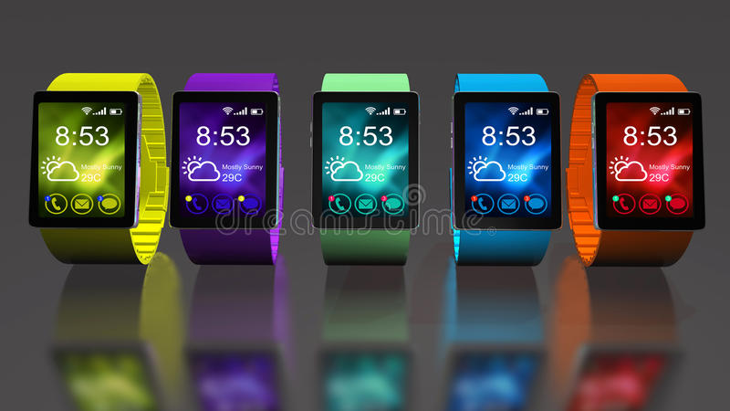 Smart watch. Creative business mobility and modern mobile wearable device technology concept. Color digital smart watch with colorful screen interface. 3D stock illustration