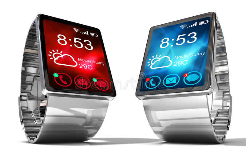 Smart watch. Creative business mobility and modern mobile wearable device technology concept. Color digital smart watch with colorful screen interface. 3D vector illustration