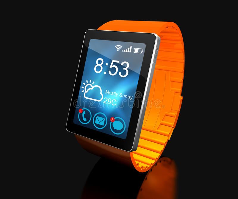 Smart watch. Creative business mobility and modern mobile wearable device technology concept. Color digital smart watch with color. Ful screen interface. 3D stock illustration