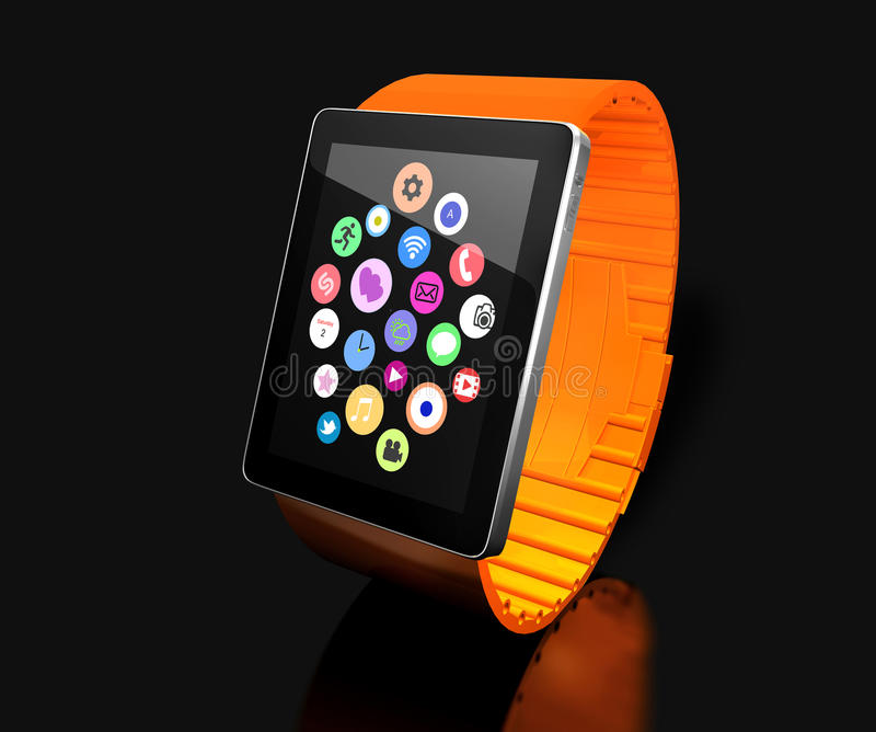 Smart watch. Creative business mobility and modern mobile wearable device technology concept. Color digital smart watch with color. Ful screen interface. 3D royalty free illustration