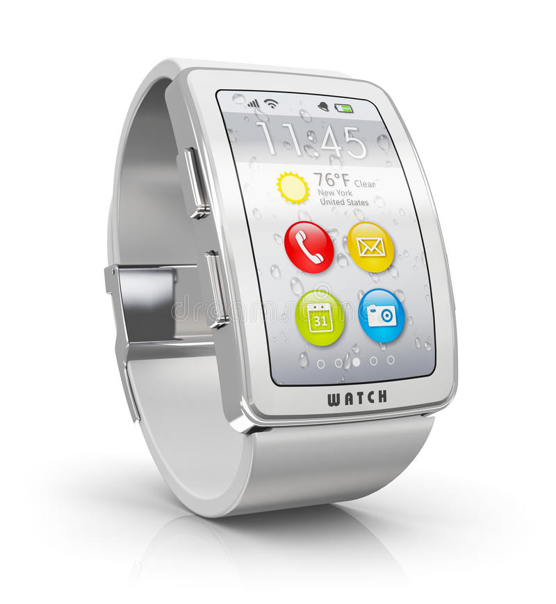 Smart watch. Creative business mobility and modern mobile wearable device technology concept: digital smart watch or clock with color screen interface isolated vector illustration