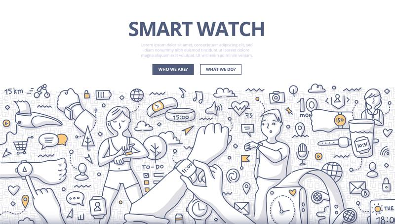 Smart Watch Doodle Concept. Doodle vector illustration of smartwatch technology. Concept of using smart watch in everyday life for web banners, hero images stock illustration