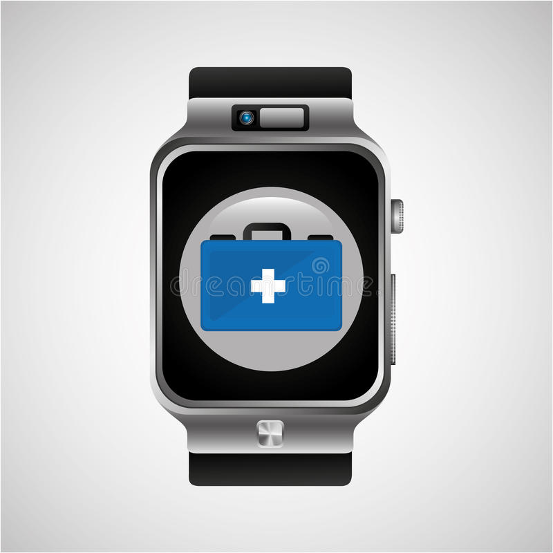 Smart watch first aid box wearable healthy royalty free illustration