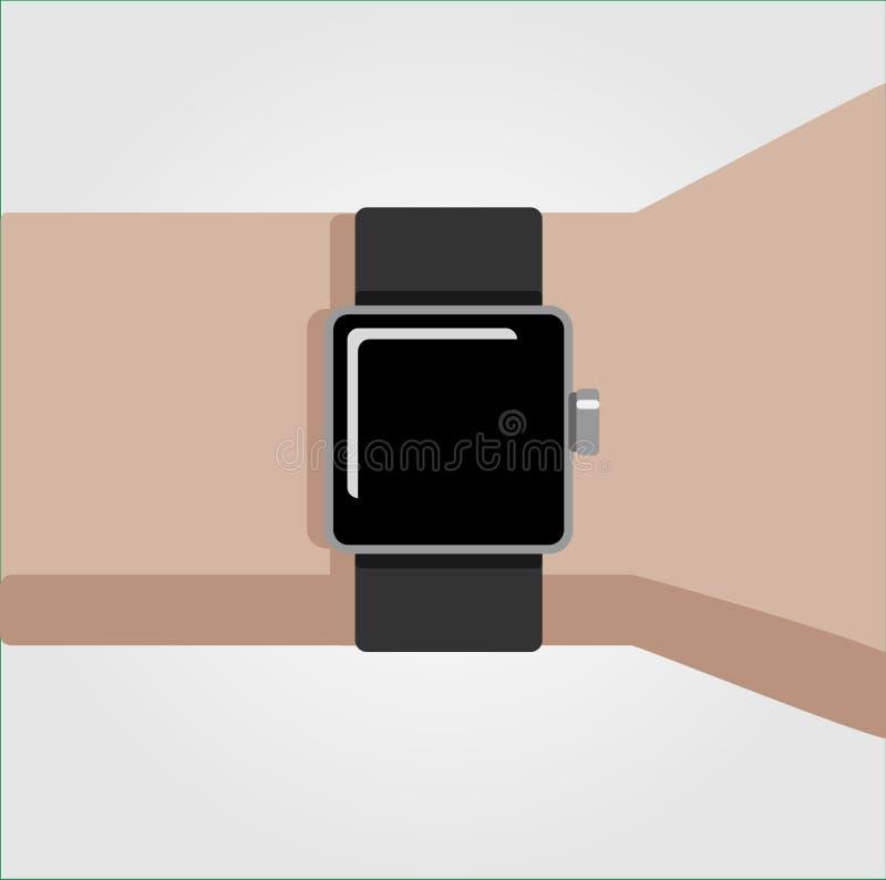 Smart watch on a hand illustration stock photo