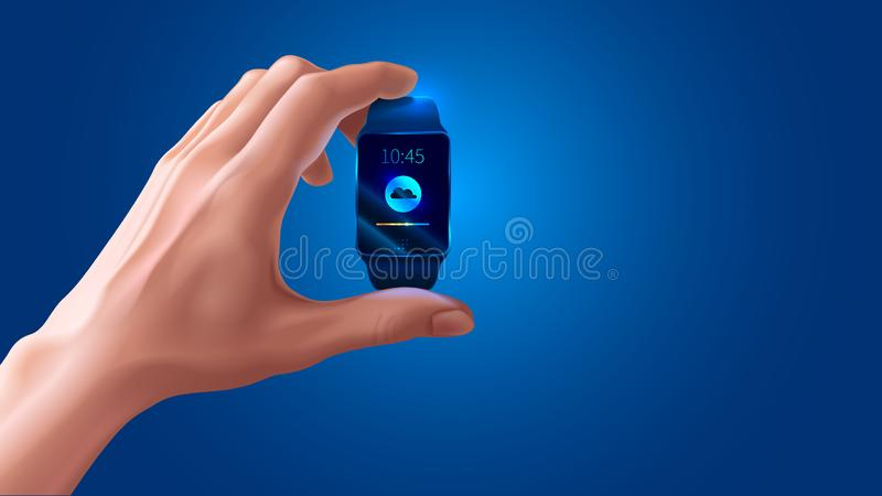 Modern shiny smart watch black color in hand on blue background vector illustration