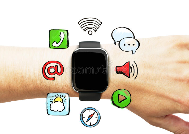 Smart watch on the hand with social media icons. Close up stock photography