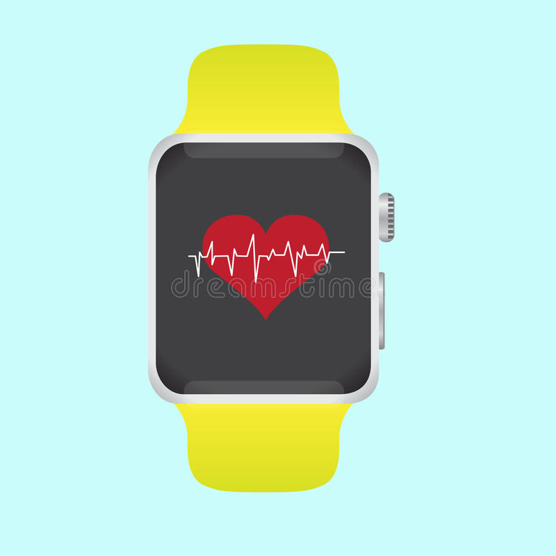 Smart watch with health monitoring vector stock illustration