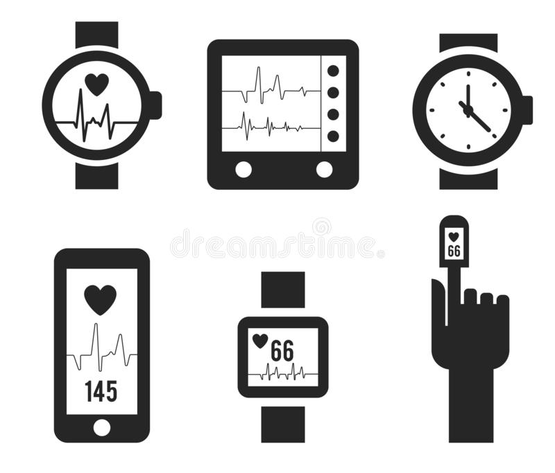 Smart watch and heartbeat line logo template. Pulse vector design. Wristwatch logotype. Heart rhythm, Electrocardiogram, ECG - EKG signal, Heart Beat pulse vector illustration