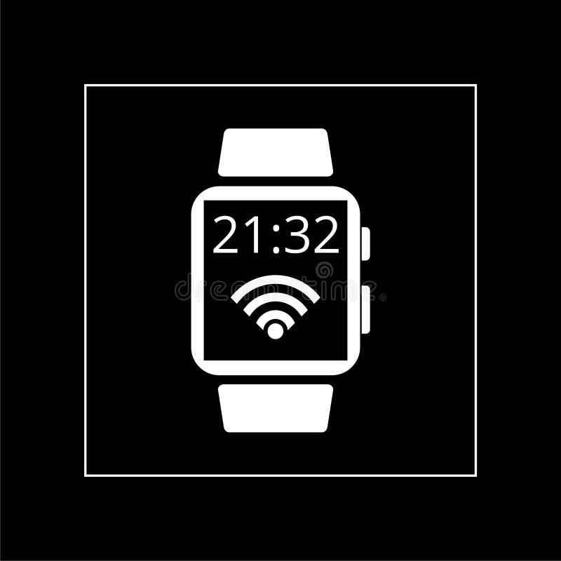 Smart watch icon on dark black background royalty free stock image