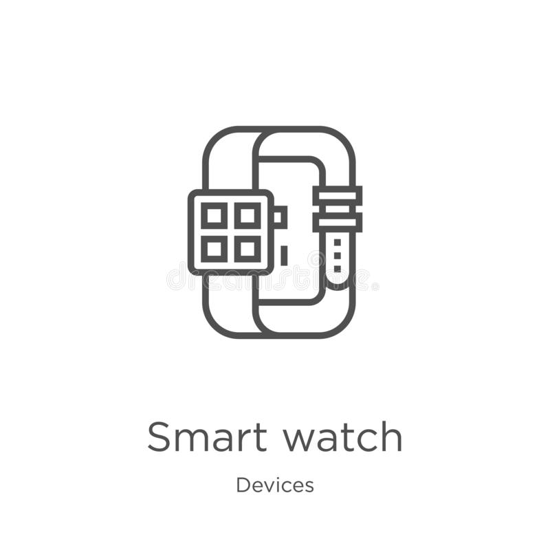 Smart watch icon vector from devices collection. Thin line smart watch outline icon vector illustration. Outline, thin line smart. Smart watch icon. Element of stock illustration