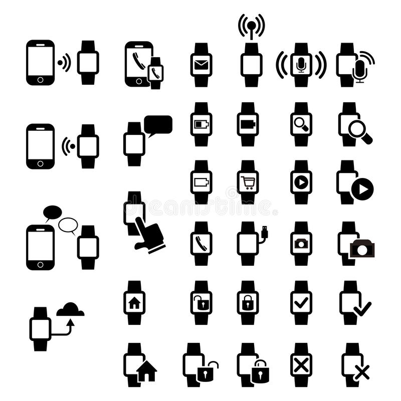 Download Smart watch icons stock vector. Image of interface, icon - 31496814