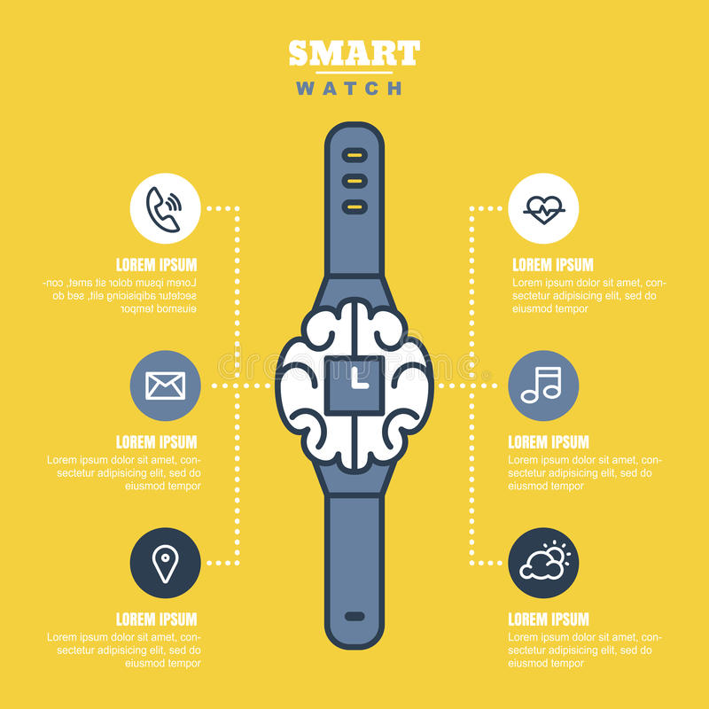 Smart Watch Infographics Or Presentations Template With Outline - Unique outline template for presentation concept