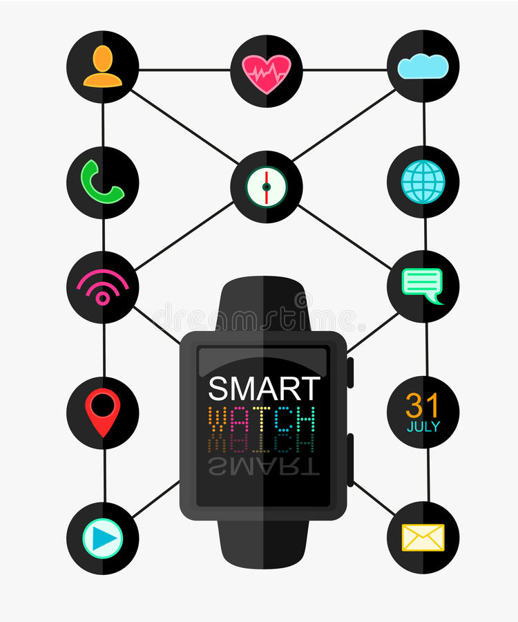 Smart Watch with Interface and App Icons Set. Concept Design . Vector Illustration. Flat Style. Eps 10 stock illustration