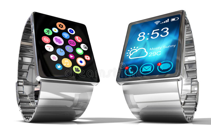 Smart watch isolated on white background. Creative business mobility and modern mobile wearable device technology concept. Color digital smart watch with royalty free illustration