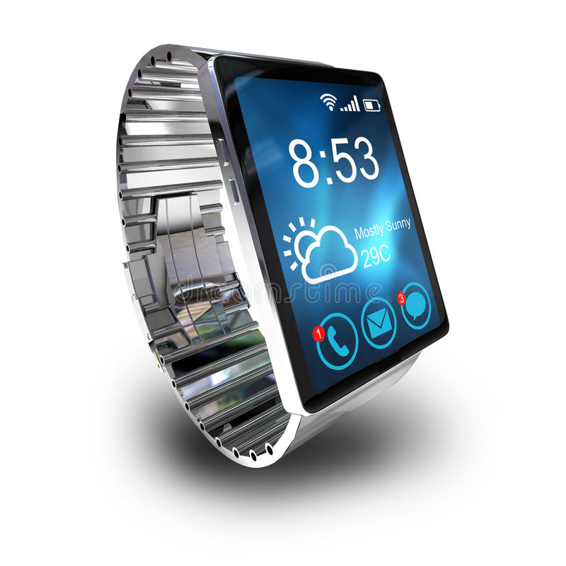 Smart watch isolated on white background. Creative business mobility and modern mobile wearable device technology concept. Color digital smart watch with vector illustration