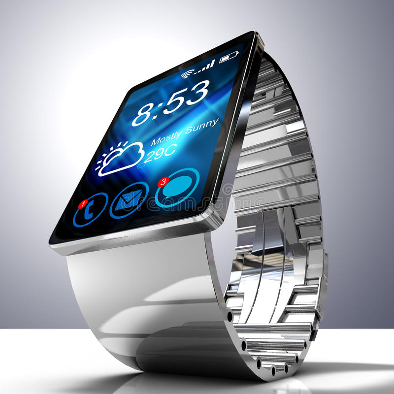 Smart watch isolated on white background. Creative business mobility and modern mobile wearable device technology concept. Color digital smart watch with stock illustration