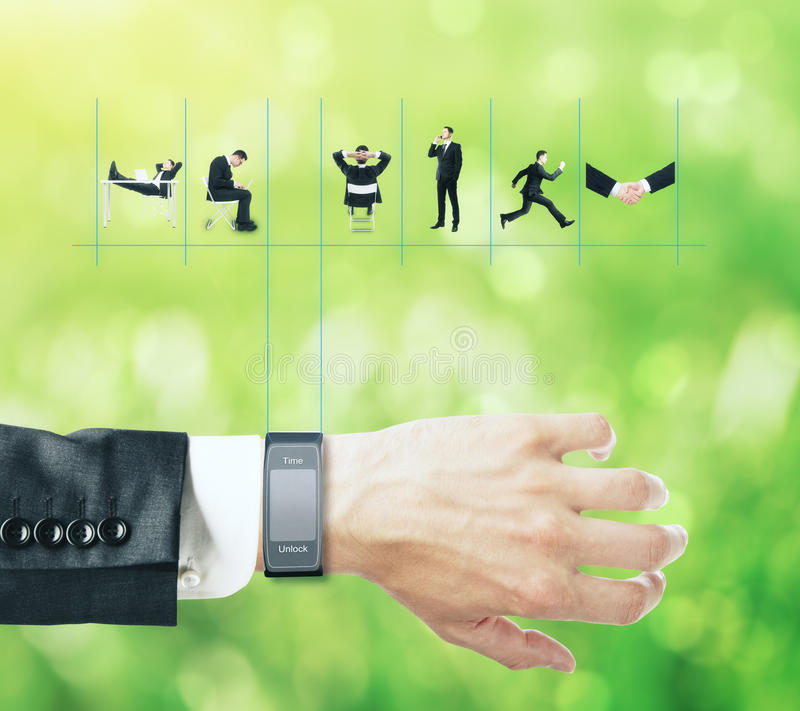 Smart watch with man's schedule. Smart watch with businessman's schedule on abstract green background royalty free stock images
