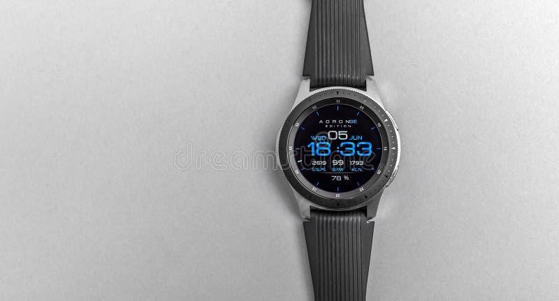 Smart watch Samsung Galaxy Watch on a gray background. stock photos