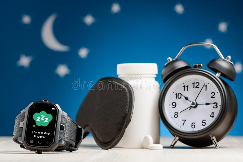 Smart watch with sleep tracker royalty free stock photos