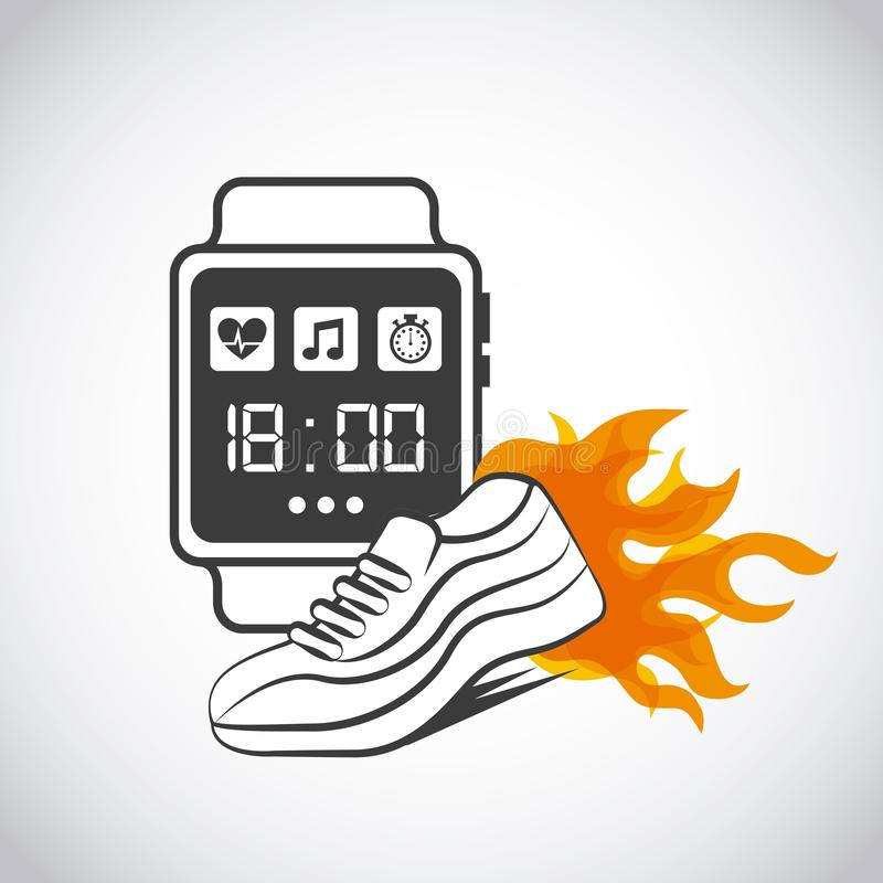 Smart watch for sport. And running shoes burning over white background. vector illustration stock illustration