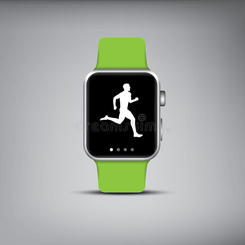 Smart watch technology with sport fitness tracker stock illustration
