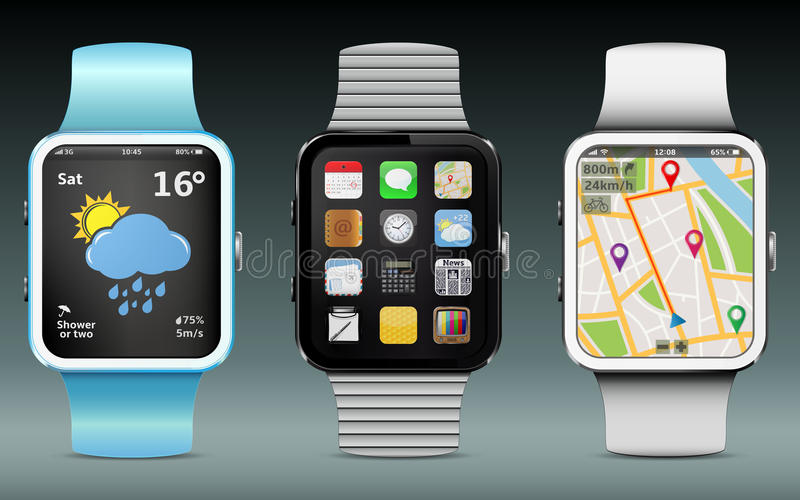 Smart Watches. With app icons, weather and GPS navigation widgets stock illustration