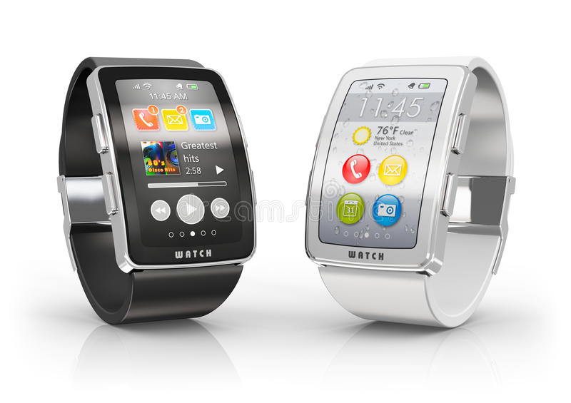 Smart watches. Creative business mobility and modern mobile wearable device technology concept: two color digital smart watches or clocks with colorful screen stock illustration