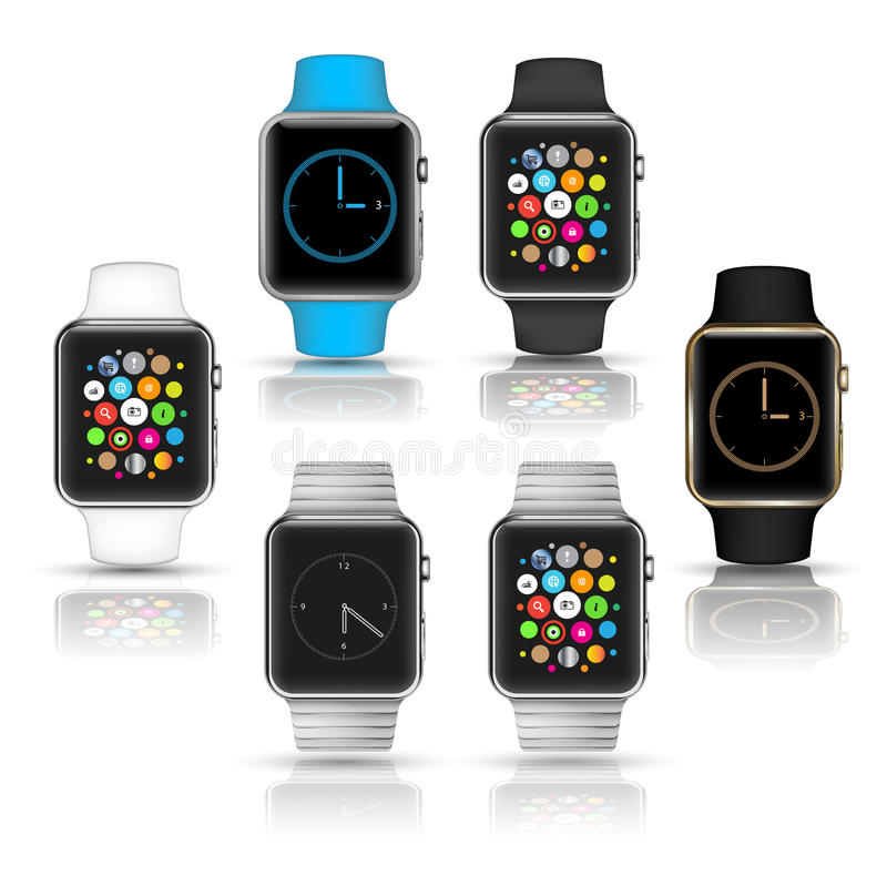 Smart watches wearable collection computer new technology. Vector Illustration stock illustration