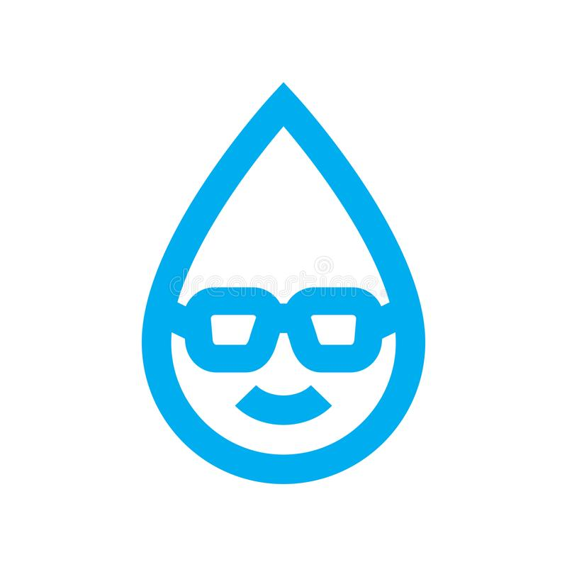 Smart water use icon. Wise water consumption water drop character symbol stock illustration